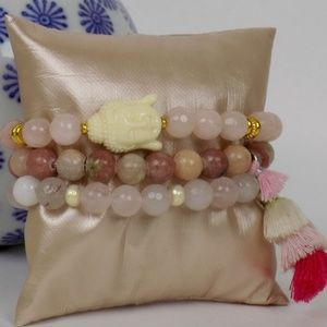 beaded bracelet stack set Buddha rose quartz pearl